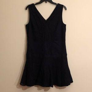 Navy Blue Ann Taylor drop waist mini dress sz 8